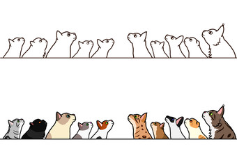 cats looking up profile border set