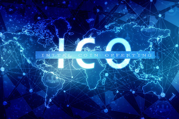 2d illustration ICO initial coin offering futuristic hud background