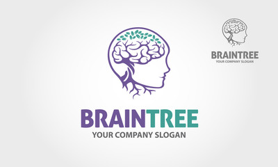 Brain Tree vector logo template. Simple work and adjusted to suit your business.