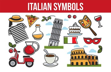 Italian national symbols promotional travel agency cartoon poster