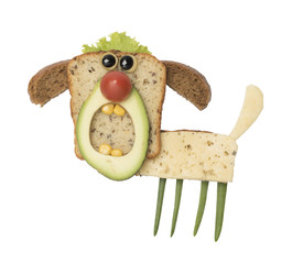 Angry dog made as a sandwich on white background