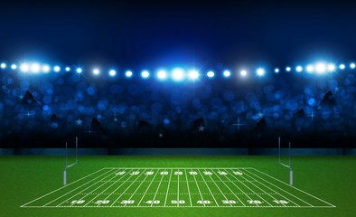 American football arena field with bright stadium lights design. Vector illumination