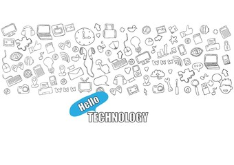 Hello technology background with media icons technology hand lettering and doodles elements background. drawing by hand vector.