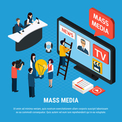 News Agency Isometric Background