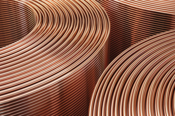 Copper pipes close-up. Coils with tubes in warehouse. 3D Illustration