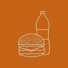 Burger and bottle of soda water.