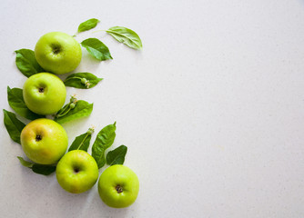 green apples on the white