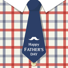 Happy father's day card vector illustration, Cute daddy flannel shirt with blue tie.