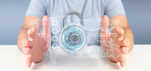 Man holding a padlock security technology interface 3d rendering