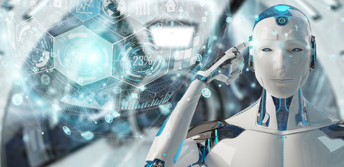 White male cyborg using digital chart interface 3D rendering