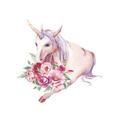 Watercolor unicorn with flowers illustration. Hand painted fairytale animal, peonies, anemone, tulips bouquet isolated on white background. Cartoon baby art