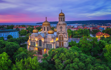Fotobehang Monument The Cathedral of the Assumption in Varna, Aerial view