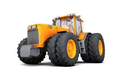 Orange wheel harvesting tracktor moving from right to left isolated on white background. 3D illustration. Front side view. Perspective