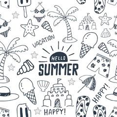 sketch doodle summer seamless pattern
