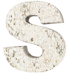The Capital Letter - S from stone. 3D Render Illustration