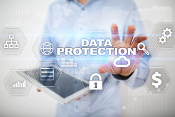 Data protection, Cyber security, information safety and encryption. internet technology and business concept.