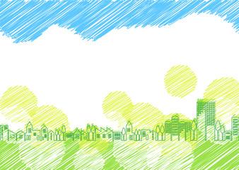 緑と街並み