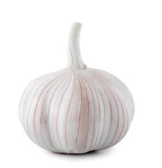 Fresh garlic on white background. Organic food