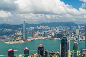 Panoramic view of Hong Kong skyline. China