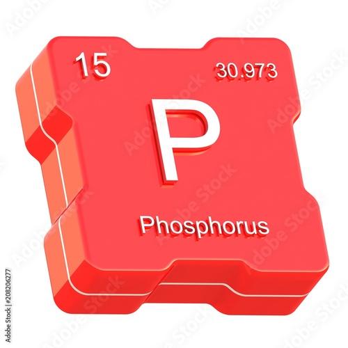 Phosphorus Element Symbol From Periodic Table On Futuristic Red Icon