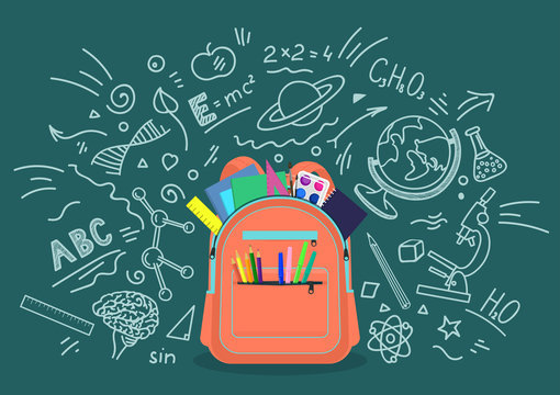 Open school backpack full of stationery with chalk doodle background. Education, subjects, studying concept. Vector illustration.