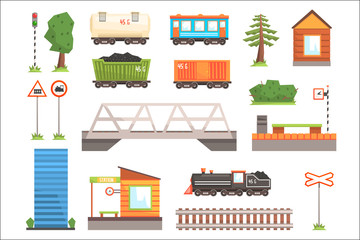 Cartoon illustration of train railroad vector