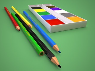 Illustration of colored pencils and paints on a green background. 3D render.