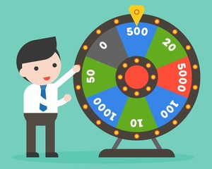 Businessman with Wheel of Fortune, flat design
