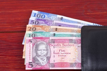 South Sudanese money in the black wallet