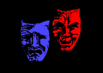 theatrical_mask_smile_and_sadness_on_a black_background