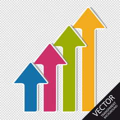 Colorful Business Arrows - Up Direction - Vector Set - Isolated On Transparent Background
