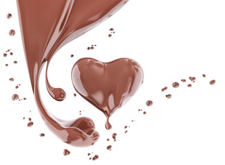 Splash chocolate abstract background, chocolate heart 3d rendering