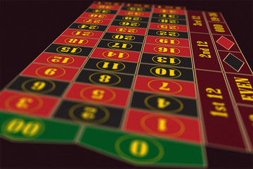 American Roulette Table perspective raster illustration, shallow DoF
