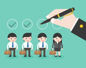 business hand holding pen check on circle over business characters, flat design evaluate employees and people recruitment