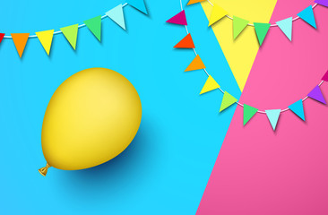 Festive background with yellow balloon and flags.