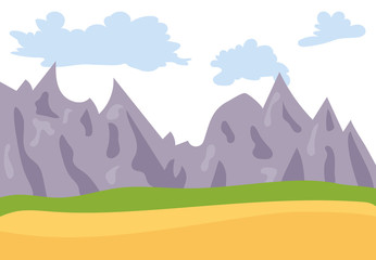 Natural cartoon landscape in the flat style with mountains, blue sky, clouds  and hills. Vector illustration
