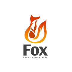 abstract Stand fox looking logo