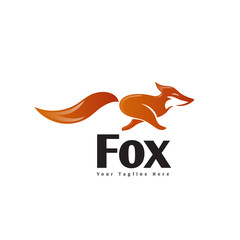 Simple running fox logo