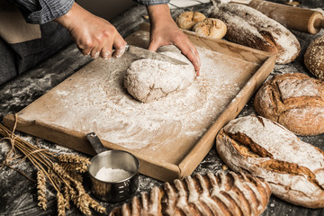 Bakery - baker's hands and raw dough - making bread