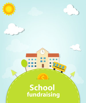 School fundraising poster. Clipart image isolated on white background