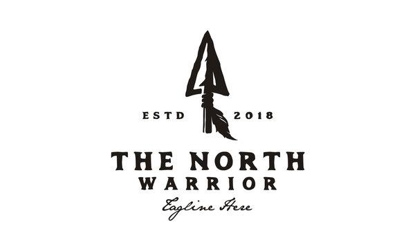 Vintage Retro Rustic Arrowhead Spear Hunting Hipster Logo Design