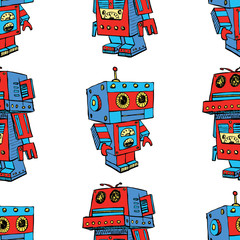 Seamless background of old toy robots