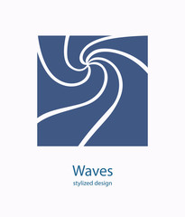 Water Wave Logo abstract design. Cosmetics Surf Sport Logotype c