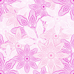 Pink flowers Seamless Pattern