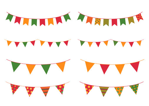 Colorful buntings for Cinco De Mayo holiday designs for greeting cards, banner and backgrounds