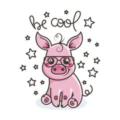 Cute cartoon baby pig in a cool sunglasses