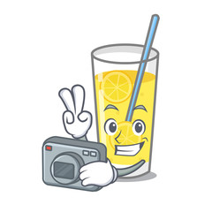 Photographer lemonade mascot cartoon style