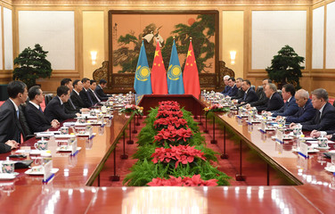 Kazakhstan's President Nursultan Nazarbayev speaks during a meeting with Chinese President Xi Jinping in the Great Hall of the People in Beijing