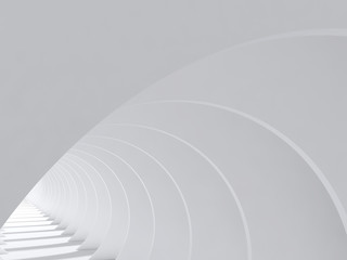Abstract white interior with round walls 3 d