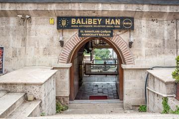 View of Balibey Han or handcraft bazaar in Bursa, Turkey
